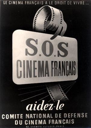 Affiche de défense du cinéma français datant de 1969. (Source : La cinématèque Française)