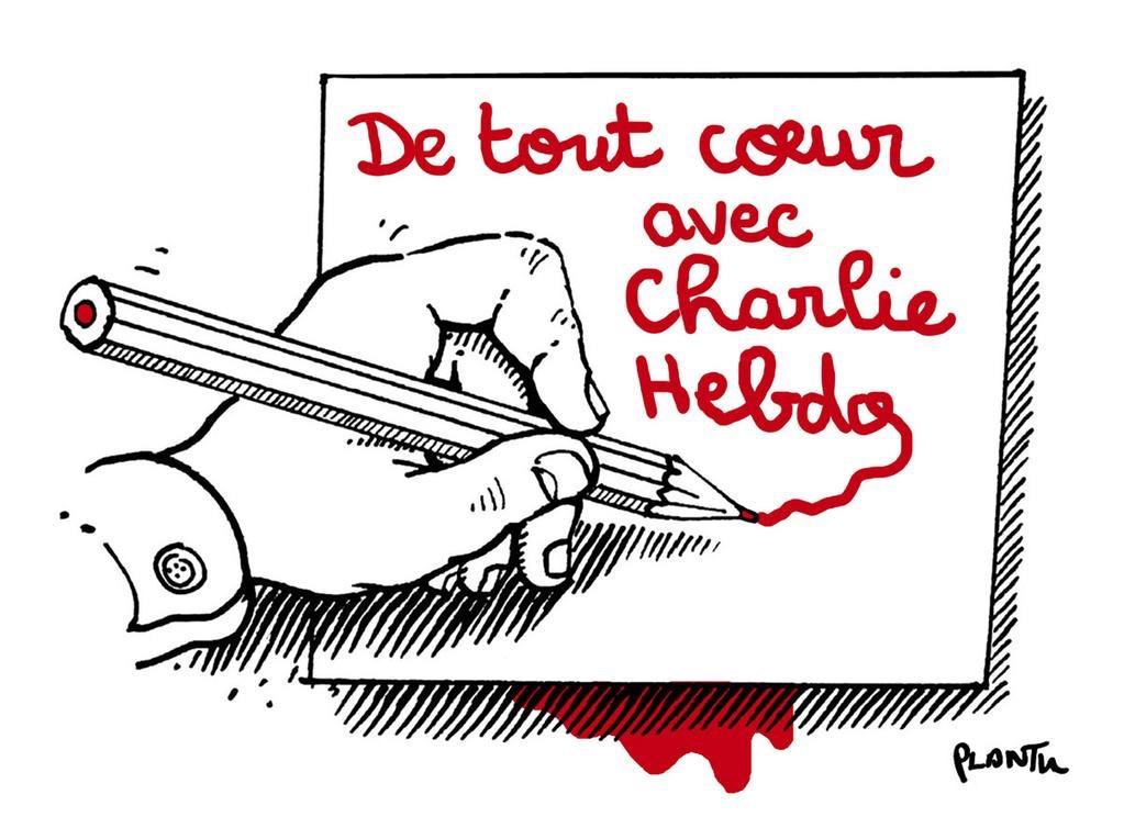 Dessin de Plantu en soutien aux dessinateurs tués dans l'attentat contre Charlie Hebdo